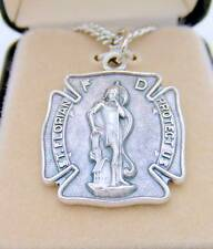 MRT St Florian Badge Fireman Saint Oxidized Silver Medal Necklace Boxed Gift 1""