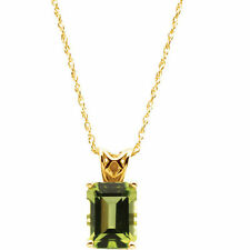 "Genuine Peridot Emerald Cut Gem Solitaire Pendant 18"" Necklace 14K. Yellow Gold"