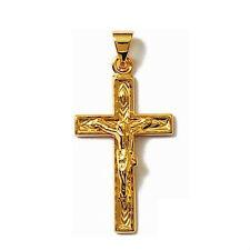 Joli PENDENTIF CROIX catholique CHRIST Plaqué OR neuf BIJOUTERIEJOLYBIJOUX
