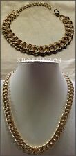 """NEW METAL GOLD CLASSIC CHAIN LINK 17"""" NECKLACE + BRACELET SET NEW"""