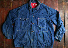Vtg 70s montgomery ward bleu indigo denim work chore jacket barn coat usa xxl