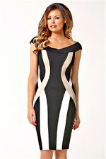 Jessica Wright Lipsy Bardot Bodycon Bandage Size 8 Dress Party Black Nude White