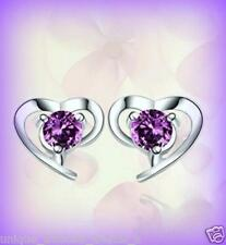FEBRUARY BIRTHSTONE PURPLE CZ HEART SILVER STUD EARRINGS GIFT FOR HER WOMEN MOM