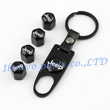 Key chain Black Metal Car Wheel Tyre Tire Stem Air Valve Cap For Jeep Vehicles