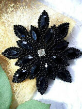 XR32  Applique Black Beaded Snowflake Star Rhinestone Center 3""