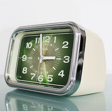 RHYTHM 3RA050 Alarm TOP Mid Century Clock CHROME! Vintage Collectors Item Mantle