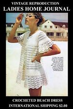 LHJ 70's Beach Dress Bikini Swim Cover-up Crochet Pattern Hippy Boho Groovy Top