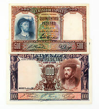 Set of 2 different Spain 1000 Pes. 1925 P-70c & 500 Pes. 1931 P-84 nice vf