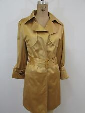 HILARY RADLEY New York Gold Cotton Blend Belted Trench Coat-Size M