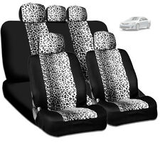 NEW PREMIUM BLACK MESH ANIMAL SNOW LEOPARD PRINT CAR SEAT COVERS SET FOR TOYOTA