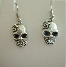 *NEW* SILVER COLOURED & PEWTER DANGLY FASHION EARRINGS * FLOWER SUGAR SKULLS *