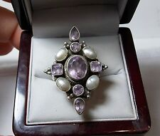 Gorgeous Large Sterling Silver Amethyst Pearls Cross Ring sz 9 -9.5 QVC India