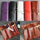 Retro Vintage Roll PU Leather Make up Cosmetic Pen Pencil Case Pouch Purse Bag