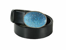 "Steve Madden Leather Belt with Decorative Crystals Blue Buckle 3"" x 2"" Size S"