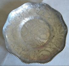 Hand Wrought Aluminum Serving Dish Daisy Pattern