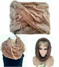 Gorgeous Beige Nude Super Soft Faux Fur Snood Endless Scarf Twisted Front Style