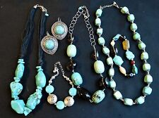 Mod Turquoise Jewelry Lot-Gold Tones REAL Turquoise-Mostly New Genuine Stones