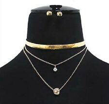 Stylish 3 Row Crystal Ball Accent Omega Chain Choker Necklace w Ball Earrings