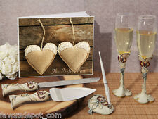 Rustic Hearts Wedding Set Guest Book Pen Toasting Flutes Cake Knife Server