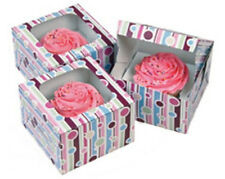 6 Bubble Stripes Single Cupcake Boxes 415-116 Clear Window Green Pink Blue Purpl