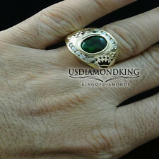 ELEGANT SIMULATE OVAL GREEN EMERALD MEN'S RING 10K REAL YELLOW GOLD LAB DIAMONDS