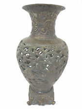 Antique Old Cast Bronze Signed Chinese China Flower Vase Decorative Used