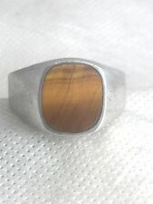 Vintage Sterling Silver  Tiger  Eye Ring Mexico  Size 13.75  17g  Mexico MEN