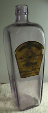 DOUBLE WOODCOCK  gin bottle w/ label  .. gorgeous sun-colored amethyst 1890's