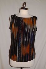 FRENCH LAUNDRY Size L Shirt Top Tank Black Brown Blue Slinky Stretch Travel Knit