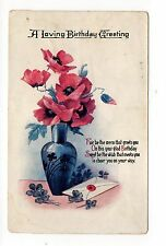 A Loving Birthday Greeting, Flowers In Vase, Vintage Postcard, Mar