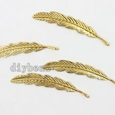 10x Newest Shiny Gold Plated Alloy Feather Charms Pendants Nice Jewelry Crafts D
