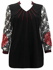 NEW SZ 14 16 ULLA POPKEN BLACK RED EMBROIDERY LACE PRINT BLOUSE SHIRT TOP TUNIC