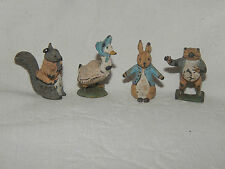 SET 4 VINTAGE COLD PAINTED LEAD MINIATURE BEATRIX POTTER FIGURES ~ PETER RABBIT