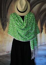 Lime Green & White Rebozo Shawl, Hand Embroidered, Jalapa Mexico Hippie Boho