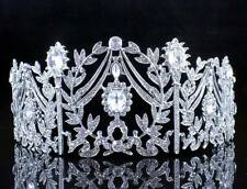 VINTAGE FLORAL WHITE CRYSTAL RHINESTONE HAIR TIARA CROWN BRIDAL PAGEANT T12106