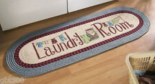 Braided Laundry Room 4 Ft Runner Rug IN HAND Blue Decor Mat Washer/Dryer Utility