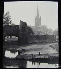 Glass Magic Lantern Slide NORWICH CATHEDRAL & WATER GATE C1890 ENGLAND L94