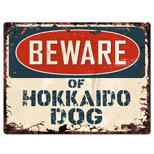 PPDG0111 Beware of HOKKAIDO DOG Plate Rustic TIN Chic Sign Decor Gift