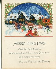 Vintage Art Deco Christmas Card: Victorian Inn in Falling Snow