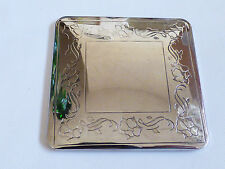 VTG Silver Plated floral design compact pocket square Mirror