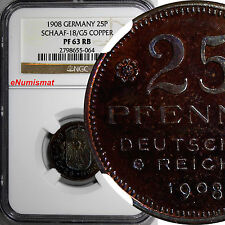 GERMANY Wilhelm II Copper Proof Pattern 1908 25 Pfennig NGC PR63 RB Schaaf-18/G5