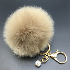 Coffee Genuine Rabbit Fur Pearl Ball PomPom Car Keychain Handbag Charm Key Ring