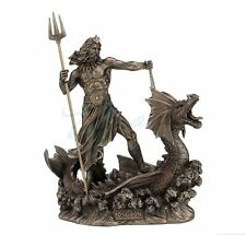 Poseidon With Trident Standing On Hippocampus Sculpture Greek God of the Sea