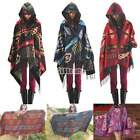 Women Toggle Cape Fringe Coat Poncho Hoodie Hooded Jacket Bohemian Shawl Scarf