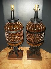 Pair Wrought Iron &Amber Glass Medieval Spanish Style Lamp