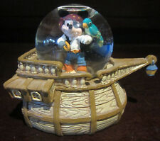 RARE Disney Pirate Costume Ship Mickey Mouse Parrot Snowglobe Water Dome Figure