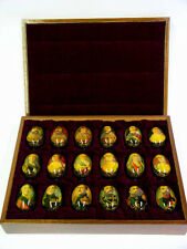 18 Hand Painted Russian Romanov Dynasty Eggs in Lacquered Wood Box, Grebyonkina