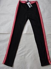 NWT $48 Hue Women Sporty Stripe Ponte Leggings U16102 Sz L Black