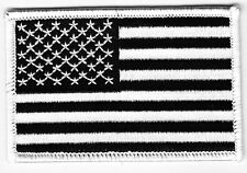 AMERICAN FLAG, BLACK & WHITE-IRON ON EMBROIDERED PATCH,UNITED STATES, USA, FLAGS