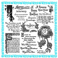 """Clear Stamps Lot 7""""x7"""" New Year Poem Greeting Christmas Vintage FLONZ 840 Rubber"""